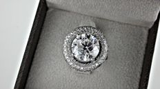 6.69 ct E/VS2  round diamond ring in 18 kt white gold - size 6.5
