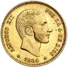 Spain – Alfonso XII – 25 pesetas in gold – 1884 – Madrid – MSM
