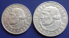 Third Reich - 2 and 5 Mark 1933 J - 450 Birthday of Martin Luther - silver
