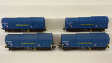 Roco H0 - 44076 - Set of 4 telescopic roof wagons type Shimmns of the DB