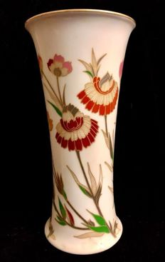 Hutschenreuther - An elegant , vintage trumpet shaped vase, with floral decoration , Christmas tableware , maker marks