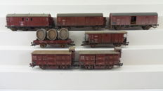 Fleischmann H0 - incl. 5394/5308/5362/5309/5362 - 7 pieces very nicely weathered freight cars of the Deutsche Reichsbahn