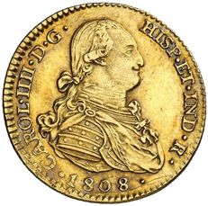 Spain – Carlos IV – 2 escudos gold coin – 1808 – Madrid. AI.