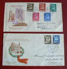 The Netherlands 1950 - FDC Churches in Times of War and Leiden University - NVPH E2 + E3