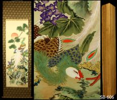 "Hanging scroll ""Phoenix and Pine Tree"" - Japan - ca.1930 (Showa Period) w/box"