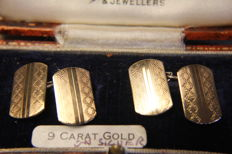 Henry Griffith & Sons Art Deco cufflinks in gold and silver. The box is lined with satin and velvet, and has the name of the reseller on the inside of the cover