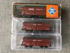 Minitrix/Roco N - 3 x RAG ore - gravel - coal wagons of the DB