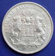 Empire, Hamburg - 3 Marks 1913 J - silver