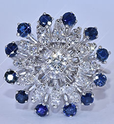 2.22 Ct Sapphires and Diamonds, star ring NO reserve price!