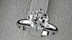 2.01 ct SI1 round diamond ring made of 18 kt white gold *** NO RESERVE PRICE ***