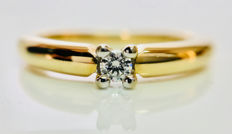 14 kt yellow gold solitaire ring set with 1 brilliant cut diamond of 0.08 ct, G-VS - ring size 62/19.75 mm