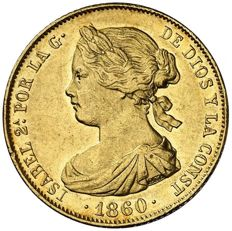 Spain - Isabel II (1833-1868) gold 100 real coin - Madrid - 1860