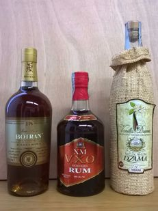 1x Botran Ron Anejo Gran Reserva Solera 1893, 18 Years Old (from Guatemala - old presentation) / 1x XM (Banks DIH) VXO Demerara Rum, 7 Years Old (from Guyana - discontinued) / 1x Vidzar Dzama Vieux Rhum Vanilla Dzama (from Madagascar - old presentation)