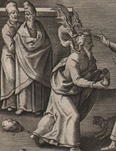 Hieronymus Wierix (1553--1619)  -St. Jude with the devil on his shoulders - 1593