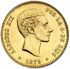 Spain – Alfonso XII – 25 pesetas gold – 1879 – Madrid. EEM