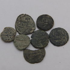 Spain - Hispano-Muslim Fulus - (7) - 4 with religious inscriptions,1 attributed to Abderraman II - Another to Mohamed I (Split Fals), another to Governors period.