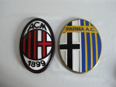 AC Milan 1899 and Parma A.C. Handmade wooden emblems - late 20th century