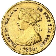 Spain - Isabel II - 40 reales gold coin - Madrid, 1864.
