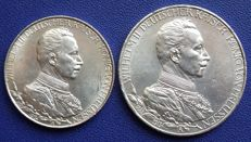 Empire, Prussia - 2 and 3 Mark 1913 A 25 year anniversary of the accession to the throne - silver