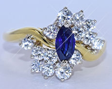 Sapphires and Diamonds, marquise ring NO reserve price!