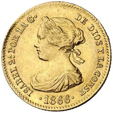 Spain - Isabel II (1833-1868) - 4 escudos gold coin - 1866 - Madrid