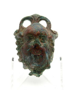Ancient Roman bronze mount with God Silenus - 54x38 mm
