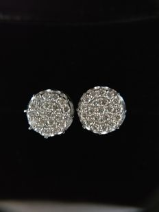 18k White Gold New Ladies Earrings with Brilliant cut Diamonds total 0.58 ct -No Reserve Price