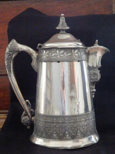 Large Aestetic Movement Silver Plated Pitcher,- France,  XIX century