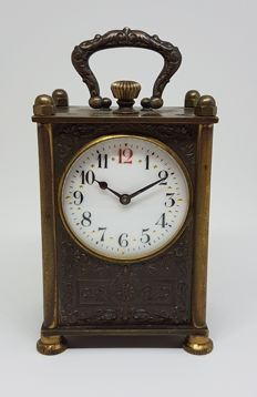 Russian Table Clock with  Imperial Oil miniature paintings ~ circa 1920
