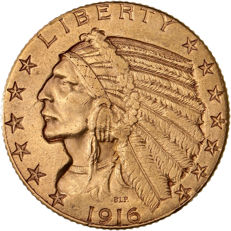 Etats-Unis - 5 Dollars 1916 S (San Francisco) 'Tête d'Indien' - or