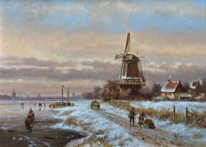 Albertus J. Temming (born 1942) - Hollands winterlandschap aan de rivier met molen