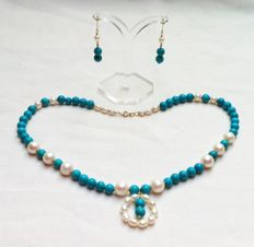 Turquoise and Cultured Pearl Choker (43 cm) and Earring suite with 18k  yellow gold parts