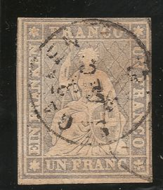 Switzerland 1855 - Helvetia sitting imperforate - Zumstein catalogue no. 27D.a