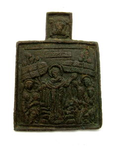 Late Medieval Bronze icon depicting Resurrection of Jesus Christ - 61x44 mm