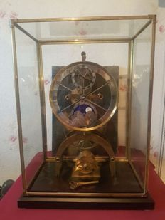 Rare Fusee Skeleton Clock with Painted Moon Dial in Glass Display Case