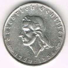 Third Reich - 2 Mark 1934 F 175th Birthday of Friedrich Schiller - silver