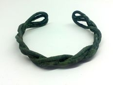 Early medieval Viking bronze twisted bracelet - 55mm