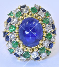 Sapphires, Emeralds, Diamonds, Fabulous ring NO reserve price!