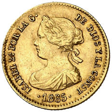 Spain - Isabel II (1833-1868) - 4 escudos gold coin - 1865 - Madrid