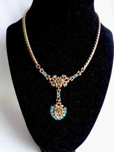 Signed BARCLAY - LOUIS MARK - Necklace with topas blue rhinestones - 1950s