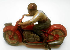 Technofix, US Zone Germany - Length 15 cm - Tin wind-up GE-258 Motorcycle, 1950s