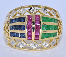 Emeralds, Rubies, Sapphires, Diamonds, ring NO reserve price!