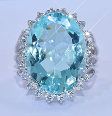 Blue Topaz with Diamonds ring NO reserve price!