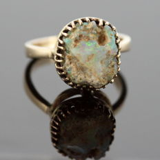 Vintage 9K Yellow Gold Ladies Ring With Rough Opal Gem (Approx 3 CT) Circa.1970's