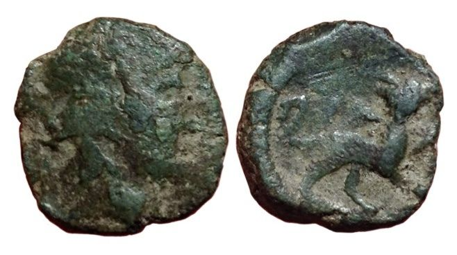 The Roman Republic - Campania, Capua?, Anonymous struck for Mark Antony c. 37-35 BC - Æ Biunx (Bronze, 15mm, 3,76g.) - Head of Dionysos-Bacchus / Panther - Rutter HN Italy 2672; SNG ANS 342; BMC 23