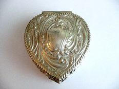 Antique, heart-shaped jewellery box or ring case from the Victorian era - Henry Matthews - Birmingham - 1894