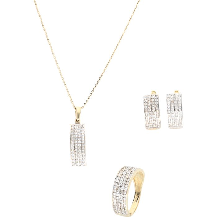 14 kt - Set consisting of a yellow gold anchor link necklace with a pendant set with zirconias, a yellow gold band ring set with zirconias, and yellow gold earrings set with zirconias