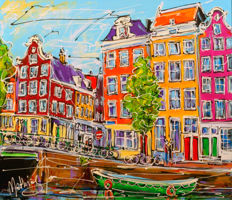 Mathias - Canal of Amsterdam, green boat