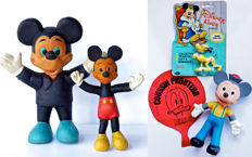 Disney, Walt - 2 vintage Mickey Mouse Bendy (Bendee) rubber figures + Donald Duck cushion/balloon + Pluto (1950's)