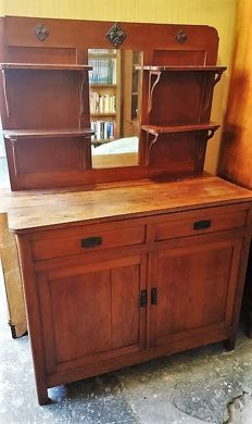 Original Art Nouveau style sideboard, similar to a kitchen chest, late XIX century, elm wood, Italy